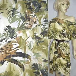 Трикотаж оливково-зелений з пальмами і квітами ш.152