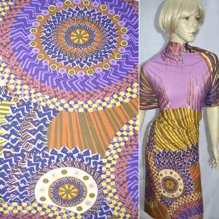 Трикотаж фиолетовый в оранжево-желтые круги ш.158