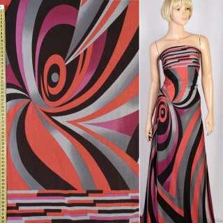 Трикотаж вискозный стрейч в серые, красные, черные, фиолетовые волны, ш.160