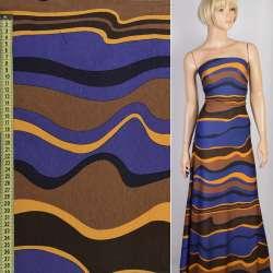 Трикотаж синий в коричневые и желтые волны, ш.157