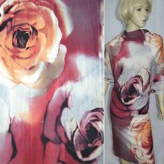 Трикотаж вишнево-серый с большими розами ш.140