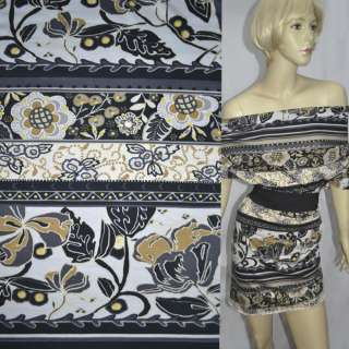 Трикотаж в черно-белые полоски с цветочным орнаментом (купон) ш.150