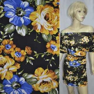Трикотаж чорний з жовто-синіми квітами ш.150