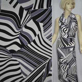 Трикотаж белый в черно серые абстрактные полосы ш.145