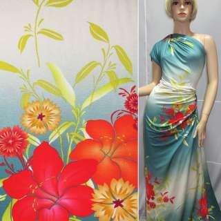 Трикотаж с белой ш.полосой с цветами ш.150