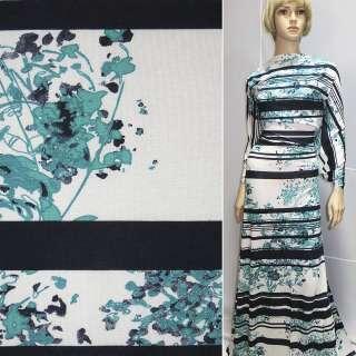 Трикотаж белый в синие полосы и бирюзов. цветы ш.155