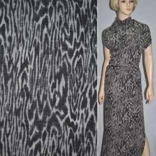 Трикотаж серо-коричневый принт леопард с шерстью ш.145