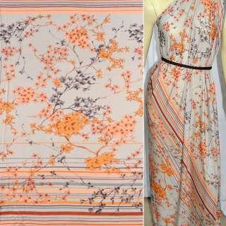 Трикотаж светло серый с оранжевыми сер. веточ. цветов и полоски