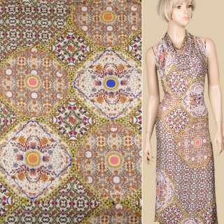 Трикотаж песочно-серый с мелкими цветами и овалами ш.150