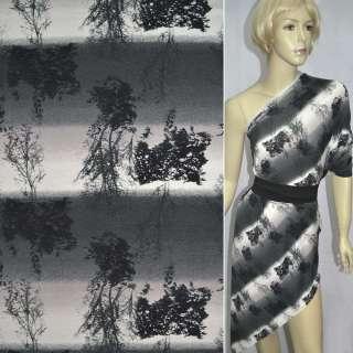 Трикотаж в сіро-бежеві смужки з деревами ш.149