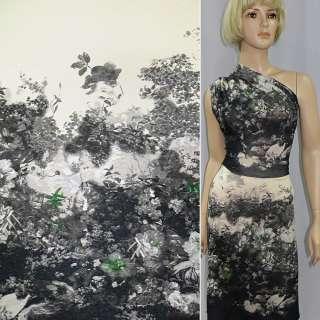 Трикотаж кремово серый с цветами (рапорт) ш.140