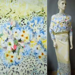 Трикотаж молочно-салатовий з синіми квітами і коричневим леопардом ш.146