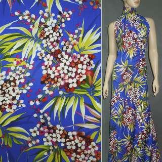 Трикотаж синій (ультра) з квітами (принт) ш.156
