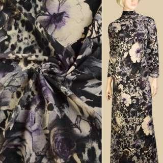 Трикотаж бежевий, чорно-бузкові квіти, метелики, ш.150