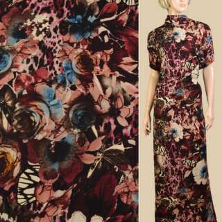 Трикотаж бежевий, чорно-бордові квіти, метелики, ш.152