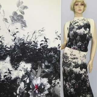 Трикотаж кремово черный рапорт с цветами ш.155