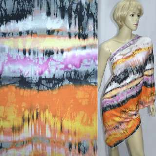 Трикотаж оранжевый серый+бледно-розовые полосы с абстрактным рисунком ш.150