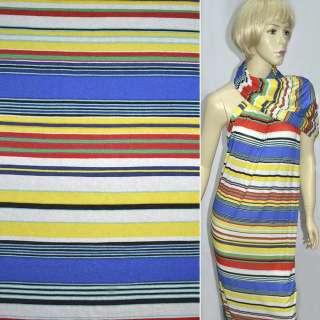 Трикотаж вискозный стрейч в полосы белые, желтые, синие, красные ш.140