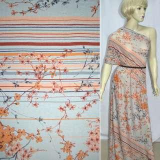 Трикотаж сірий світлий з оранжево-сірими гілочками квітів ш.140