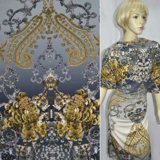 Трикотаж серый с золотисто серыми украшениями ш.147