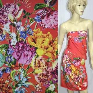 Трикотаж червоно-помаранчевий з весняними букетами квітів ш.147