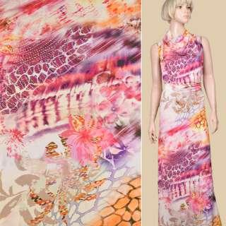 Трикотаж молочно-розовый с фиолетово-оранжевой абстракцией (мокр) ш.145