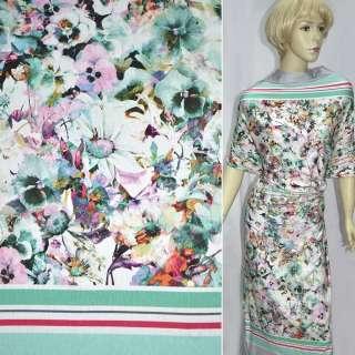 Трикотаж бирюзово-білий з квітами і смужками ш.146