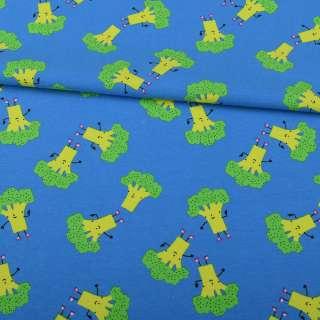 Трикотаж бавовна блакитний, зелені брокколі, ш.151