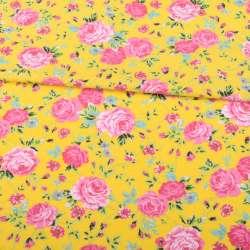 Трикотаж хлопок с эластаном желтый, розовые розы, зеленые листики, ш.150