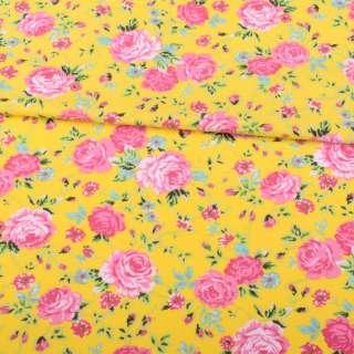 Трикотаж бавовна жовтий, рожеві троянди, зелені листочки, ш.150