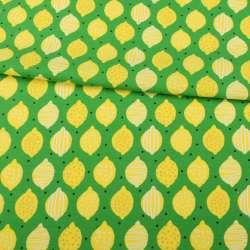 Трикотаж хлопок с эластаном зеленый, желтые лимоны, ш.145