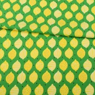 Трикотаж бавовна зелений, жовті лимони, ш.145