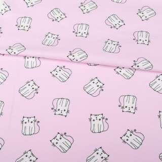 Трикотаж бавовна рожевий світлий, білі кішки, ш.152