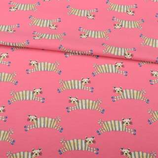 Трикотаж хлопок с эластаном розовый темный, полосатые тигры, ш.152