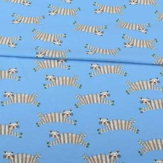 Трикотаж хлопок с эластаном голубой, полосатые тигры, ш.152