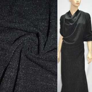 Трикотаж черный с мелкими белыми штрихами ш.160