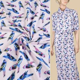 Трикотаж хлопковый розовый светлый, синие попугаи, ш.147