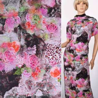 """Трикотаж хлопок стрейч """"Vertraven""""черный с розовым цветочным принтом ш.150"""