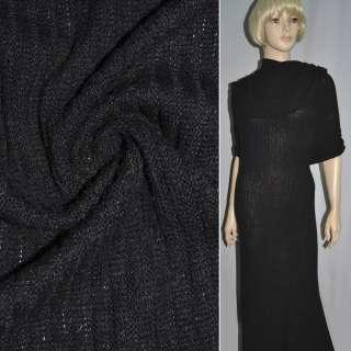 Трикотаж резинка мохеровый черный ш. 110 см.