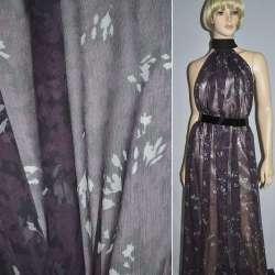 Шелк черный в фиолетово-серые цветы, ш.135