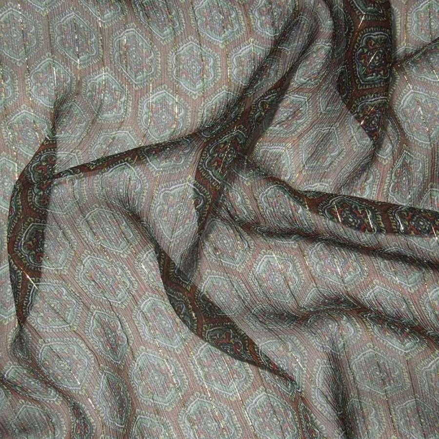 Шелк коричневый в темно-зеленый рисунок с люрексом