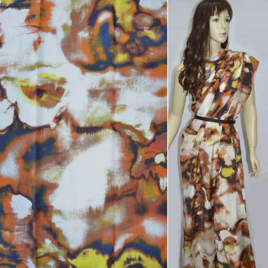Шелк белый в оранжево-желтый абстрактный рисунок, ш.138