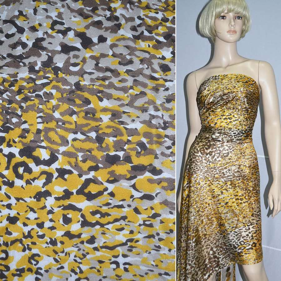 "Шелк молочный в желто-коричневый ""леопард"" ш.138"