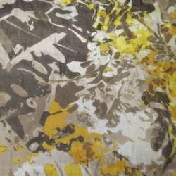 Шелк коричневый светлый в коричнево-желтый абстрактный рисунок ш.138