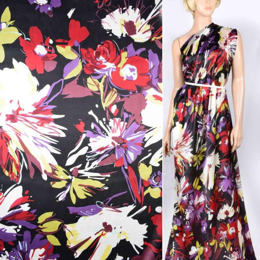 Шелк атласный черный с бежевыми, фиолетовыми, желтыми цветами ш. 140