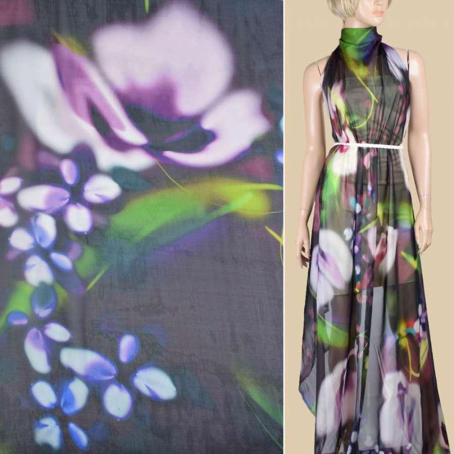 Шелк зеленый темный с фиолетовыми, лимонными пятнами ш.140