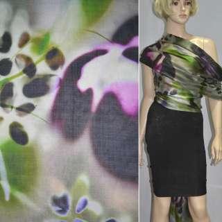 Шовк зелений з фіолетово-чорним абстрактним малюнком ш.140