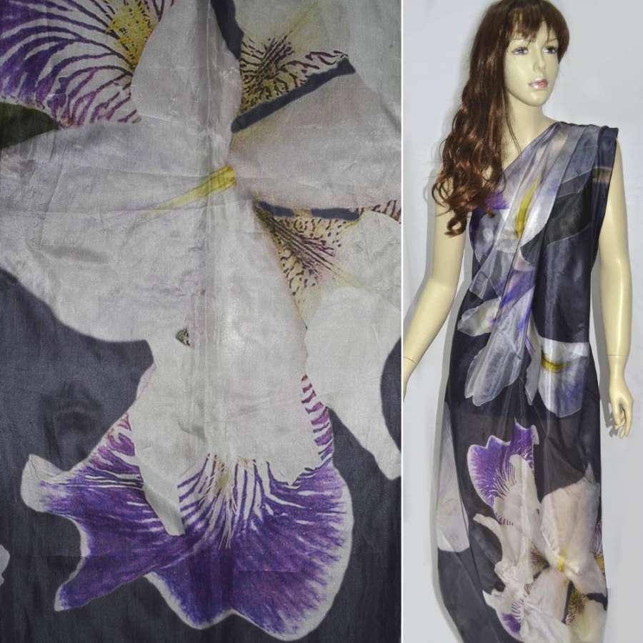 Шелк фиолетовый темный с ирисами ш.138