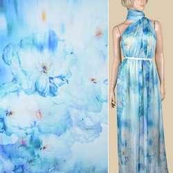 Шовк блідо-блакитний з синіми квітами ш.137