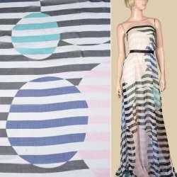 Шелк белый с черными полосками и розово-синими кругами ш.135